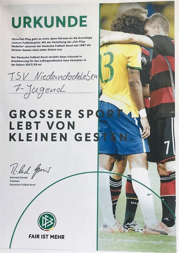 Fair Play Auszeichnung Fur Die F Jugend Kicker Des Tsv